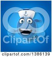 3d Blue Sailor Fish On A Blue Background