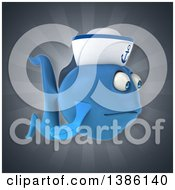 3d Blue Sailor Fish On A Gray Background