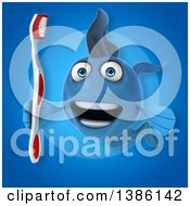 Clipart Of A 3d Blue Fish Holding A Toothbrush On A Blue Background Royalty Free Vector Illustration