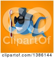Clipart Of A 3d Blue Fish Holding A Toothbrush On An Orange Background Royalty Free Vector Illustration