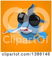 Clipart Of A 3d Blue Fish Brushing With A Toothbrush On An Orange Background Royalty Free Vector Illustration
