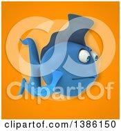 3d Blue Fish On An Orange Background