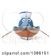 3d Happy Blue Sailor Fish Rowing A Boat On A White Background