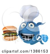 Clipart Of A 3d Blue Fish Chef Facing Left Holding A Double Cheeseburger On A White Background Royalty Free Illustration
