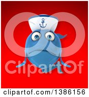 3d Happy Blue Sailor Fish On A Red Background