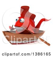 3d Happy Red Fish Rowing A Boat On A White Background