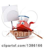 3d Sad Red Sailor Fish Rowing A Boat On A White Background