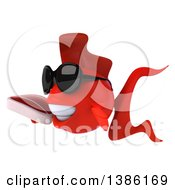 3d Red Fish On A White Background