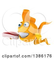 3d Yellow Fish On A White Background
