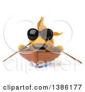 3d Yellow Fish Rowing A Boat On A White Background