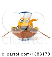 3d Yellow Fish Sailor Rowing A Boat On A White Background