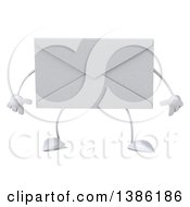 3d Envelope Character On A White Background