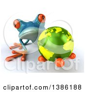 Clipart Of A 3d Turquoise Frog Holding Out An Earth Globe On A White Background Royalty Free Illustration