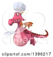 Clipart Of A 3d Pink Dragon Chef On A White Background Royalty Free Illustration