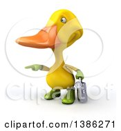 Clipart Of A 3d Yellow Gardener Duck On A White Background Royalty Free Illustration