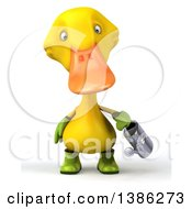 Clipart Of A 3d Yellow Gardener Duck Holding A Watering Can On A White Background Royalty Free Illustration