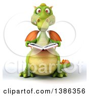 Clipart Of A 3d Green Dragon On A White Background Royalty Free Illustration by Julos