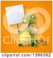 Clipart Of A 3d Green Dragon On An Orange Background Royalty Free Illustration