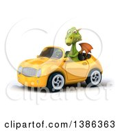 Clipart Of A 3d Green Dragon Driving A Convertible Car On A White Background Royalty Free Illustration