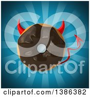 Clipart Of A 3d Chocolate Frosted Doughnut Devil On A Blue Background Royalty Free Vector Illustration