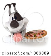 Clipart Of A 3d Jack Russell Terrier Dog Panting And Holding A Pizza On A White Background Royalty Free Vector Illustration