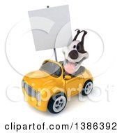 Clipart Of A 3d Jack Russell Terrier Dog Driving A Convertible Car On A White Background Royalty Free Vector Illustration