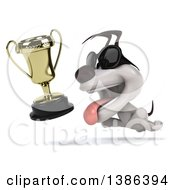 Clipart Of A 3d Jack Russell Terrier Dog Wearing Sunglasses And Chasing A Trophy On A White Background Royalty Free Illustration