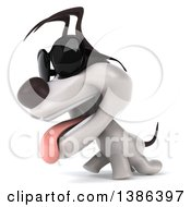 Clipart Of A 3d Jack Russell Terrier Dog Wearing Sunglasses On A White Background Royalty Free Illustration