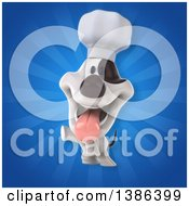 Clipart Of A 3d Jack Russell Terrier Dog Chef On A Blue Background Royalty Free Illustration