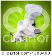 Clipart Of A 3d Jack Russell Terrier Dog Chef On A Green Background Royalty Free Illustration