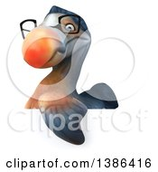 Clipart Of A 3d Bespectacled Dodo Bird On A White Background Royalty Free Illustration