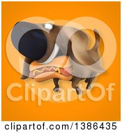 Poster, Art Print Of 3d Wiener Dog And Hot Dog On An Orange Background