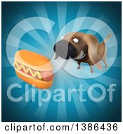 Poster, Art Print Of 3d Wiener Dog With A Hot Dog On A Blue Background