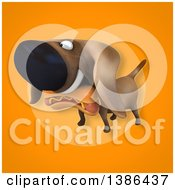 Poster, Art Print Of 3d Wiener Dog Carrying A Hot Dog On An Orange Background