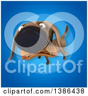 Clipart Of A 3d Wiener Dog Carrying A Hot Dog On A Blue Background Royalty Free Vector Illustration