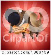 Clipart Of A 3d Wiener Dog Carrying A Hot Dog On A Red Background Royalty Free Vector Illustration