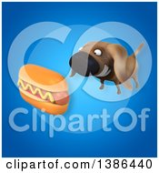 3d Wiener Dog And Hot Dog On A Blue Background