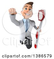 Clipart Of A 3d Happy Young Brunette White Male Dentist Flying With A Giant Toothbrush On A White Background Royalty Free Vector Illustration