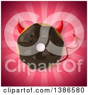 3d Chocolate Frosted Doughnut Devil On A Pink Background