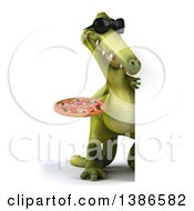 3d Green Dinosaur On A White Background