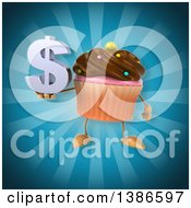 Clipart Of A 3d Chocolate Frosted Cupcake Character On A Blue Background Royalty Free Illustration