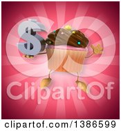 Clipart Of A 3d Chocolate Frosted Cupcake Character On A Pink Background Royalty Free Illustration