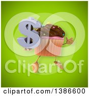 Clipart Of A 3d Chocolate Frosted Cupcake Character On A Green Background Royalty Free Illustration
