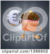 Clipart Of A 3d Chocolate Frosted Cupcake Character On A Gray Background Royalty Free Illustration
