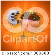 Clipart Of A 3d Chocolate Frosted Cupcake Character On An Orange Background Royalty Free Illustration