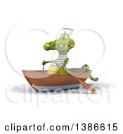 Clipart Of A 3d Sailor Crocodile Rowing A Boat On A White Background Royalty Free Vector Illustration
