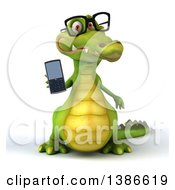 Clipart Of A 3d Bespectacled Crocodile Holding A Cell Phone On A White Background Royalty Free Vector Illustration