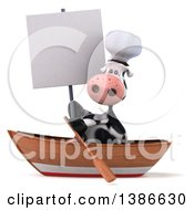 Clipart Of A 3d Chef Cow Rowing A Boat On A White Background Royalty Free Vector Illustration