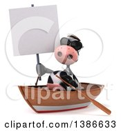 Clipart Of A 3d Cow Rowing A Boat On A White Background Royalty Free Illustration