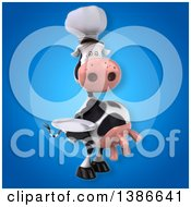 Clipart Of A 3d Chef Cow On A Blue Background Royalty Free Vector Illustration